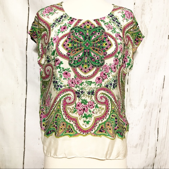 6b01f4038d9851 Anthro Maeve Tie Back Silk Paisley Top NWT